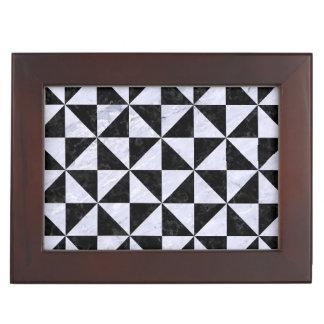 TRIANGLE1 BLACK MARBLE & WHITE MARBLE KEEPSAKE BOX