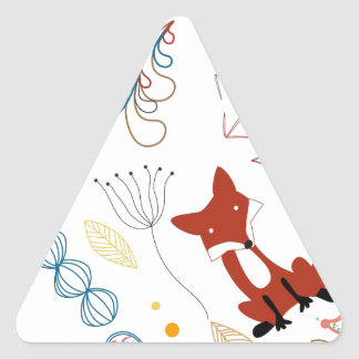 Triangle Abstract Sneaky Forest Fox Pattern Triangle Sticker