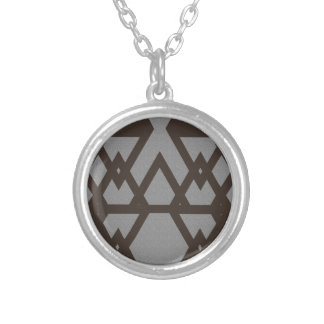 Triangle and Diamond Gray Pattern Silver Plated Necklace