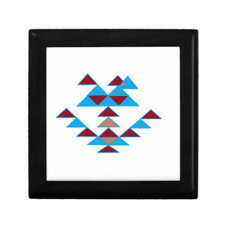 Triangle Bird Design Turquoise and Dark Red Gift Box
