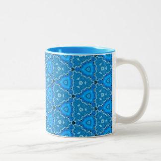 Triangle Blue Lace Quartz Quilt Two-Tone Coffee Mug