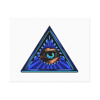 Triangle blue with eye Eye of Providence Stretched Canvas Print