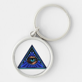 Triangle blue with eye Eye of Providence Keychain
