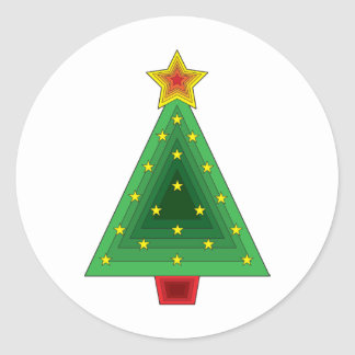 Triangle Christmas Tree Classic Round Sticker