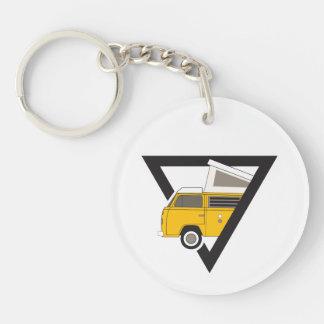 triangle classic yellow bus keychain