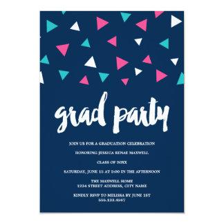 Triangle Confetti Graduation Party Invitation