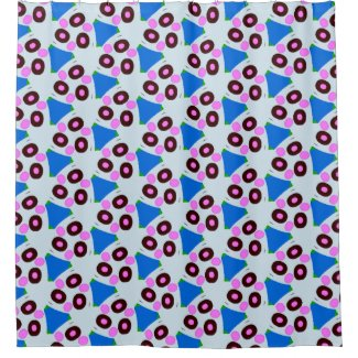 Triangle Design in Blues Pinks on Shower Curtain