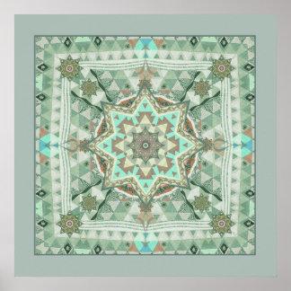 Triangle Four Winds Mandala Poster Print