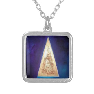 Triangle Geometric Gold Red Blue Abstract Pendant