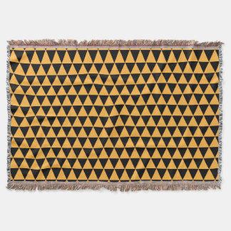 triangle geometric pattern gold u0026amp black throw blanket