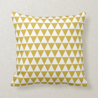 triangle geometric pattern mustard yellow throw pillow