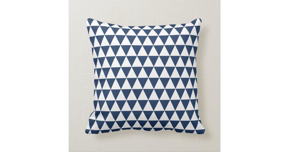 Triangle Geometric Pattern Navy Blue Throw Pillow Zazzle