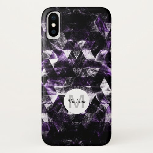 Triangle Geometric Purple Smoky Galaxy Monogram Phone Case