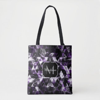 Triangle Geometric Purple Smoky Galaxy Monogram Tote Bag
