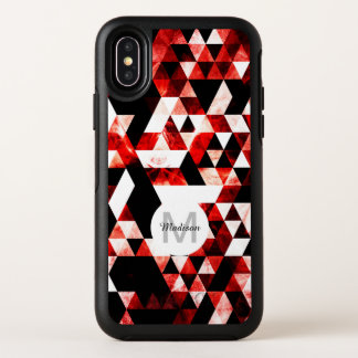 Triangle Geometric Red Smoky Galaxy Monogram OtterBox Symmetry iPhone X Case