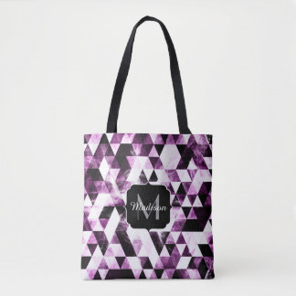 Triangle Geometric Vibrant Pink Galaxy Monogram Tote Bag
