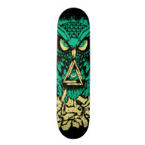 Triangle Green Owl Skate Skateboard Deck