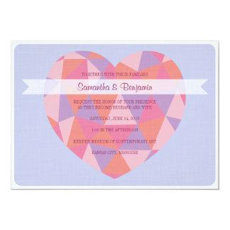 "Triangle Heart Wedding Invitation 5"" X 7"" Invitation Card"
