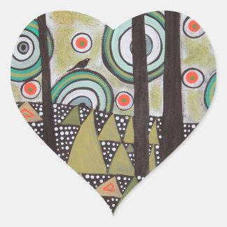 Triangle Landscape Design Heart Sticker