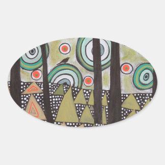 Triangle Landscape Design Oval Sticker