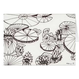 Triangle Lily Pond Greeting Cards