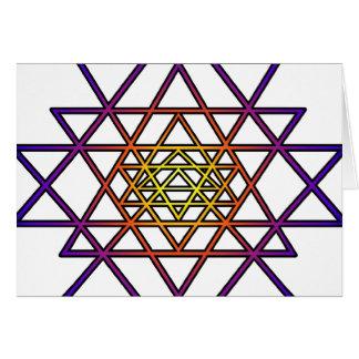Triangle Mandala (yellow purple) Sri Yantra Card