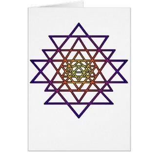 Triangle Mandala (yellow purple) Sri Yantra Greeting Card