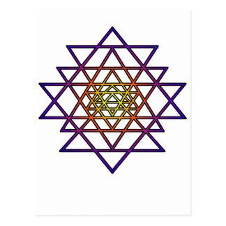 Triangle Mandala (yellow purple) Sri Yantra Post Cards