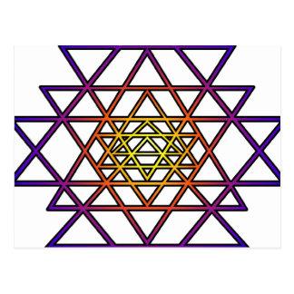 Triangle Mandala (yellow purple) Sri Yantra Post Card