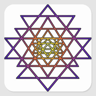 Triangle Mandala (yellow purple) Sri Yantra Square Sticker