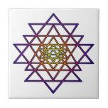 Triangle Mandala (yellow purple) Sri Yantra Tile