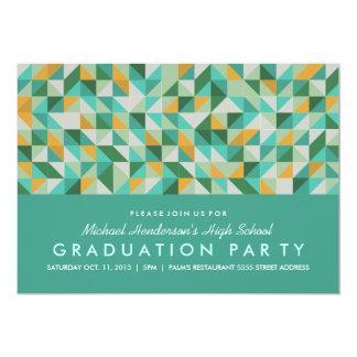 "Triangle Mosaic Graduation Party Invite 5"" X 7"" Invitation Card"
