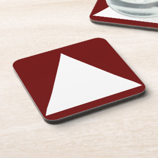 Triangle on Square Trendy Oxblood Red&White Design Coaster