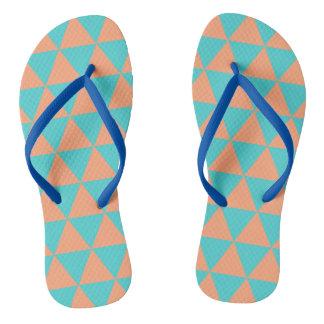 Triangle patter blue and orange flip flops
