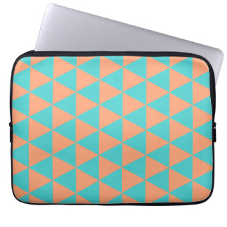 triangle patter orange and blue laptop sleeves