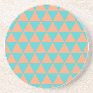 triangle patter orange and blue sandstone coaster