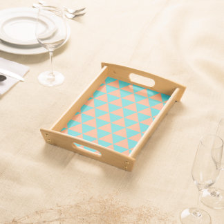 triangle patter orange and blue serving tray