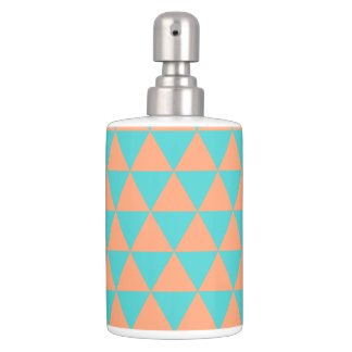 triangle patter orange and blue soap dispenser and toothbrush holder
