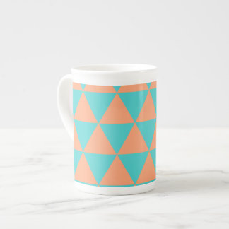triangle patter orange and blue tea cup