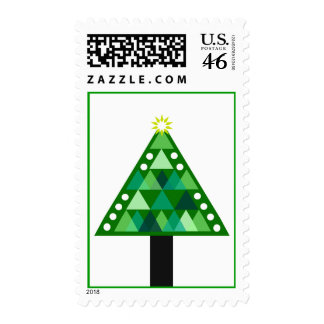 Triangle Pattern Christmas Tree Postage Stamp