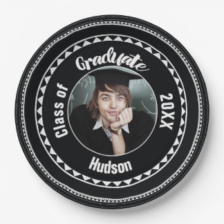 Triangle Pattern Graduation Photo Name Year Paper Plate