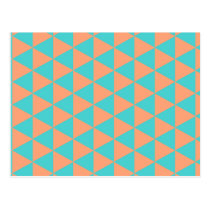 triangle pattern orange and blue postcard