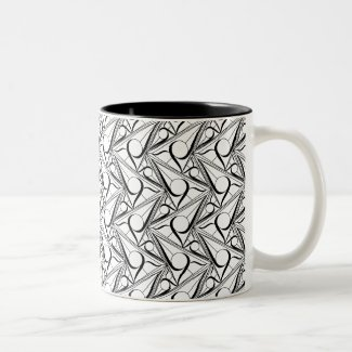 Triangle pattern with circle Two-Tone Coffee Mug