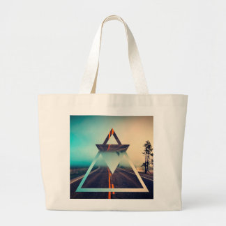 Triangle Shape Background Bright Pyramid Design Large Tote Bag