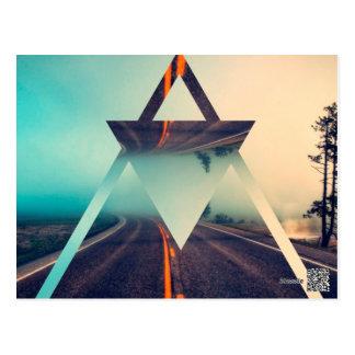 Triangle Shape Background Bright Pyramid Design Postcard