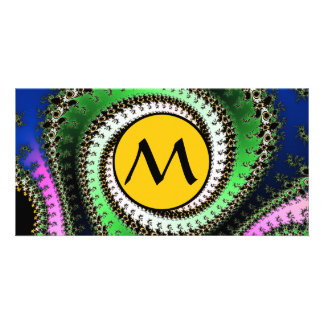 Triangle Spirals Fractal With Monogram on Yellow Card