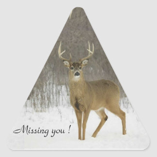 Triangle Sticker, Missing you ! Snow Deer Triangle Sticker