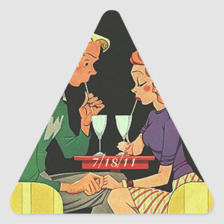 Triangle Sticker Retro Couple Dating First Date