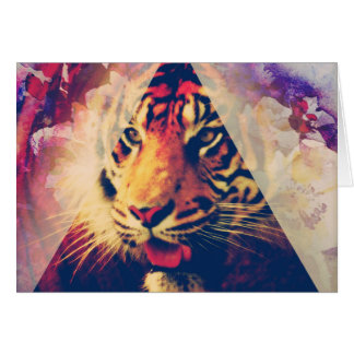Triangle Tiger Grunge Greeting Card