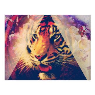 Triangle Tiger Grunge Postcard